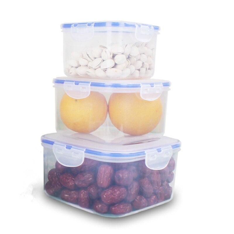 3 pieces square plastic food container storage box leak for 3 pieces cuisine