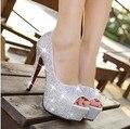 Игристые rhinestone свадебная обувь открытым носком на высоком каблуке белые туфли одного женская партия свадебная обувь низкая цена