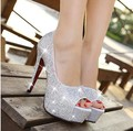Sparkling rhinestone de la boda zapatos blancos solos zapatos de punta abierta tacón alto de las mujeres zapatos de fiesta nupcial bajo precio
