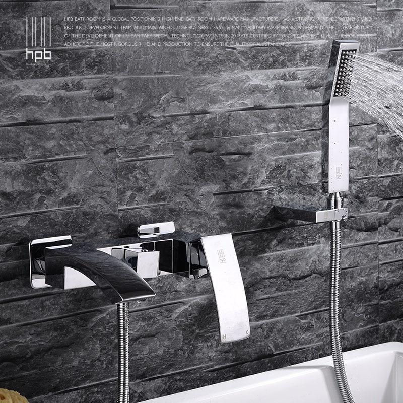 HPB Brass Waterfall Bathroom Hot Bath Tub Faucet Mixer Tap Cold Hot Water taps Chrome With Shower Head torneira banheiro HP5006