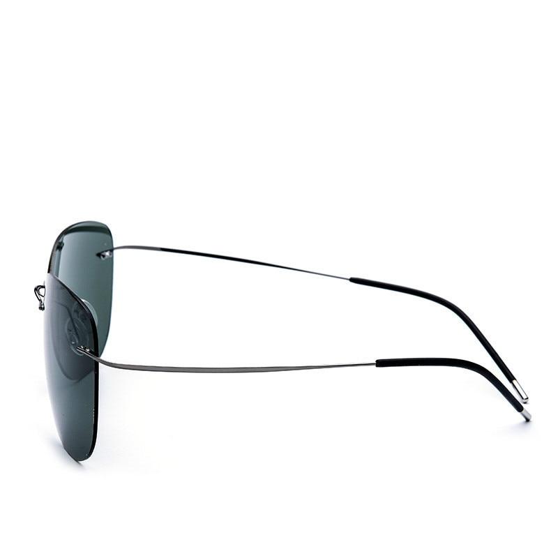 c08541afd8 2018 New Fashion 100% Pure Titanium UV400 Large Polarized Super thin Lightest  Rimless Sunglasses Unisex Gray Rim Dark green Lens-in Sunglasses from  Apparel ...