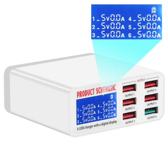 Универсальный USB адаптер для быстрой зарядки 3,0, 6 USB портов, 40 Вт, 5 В, 6 А