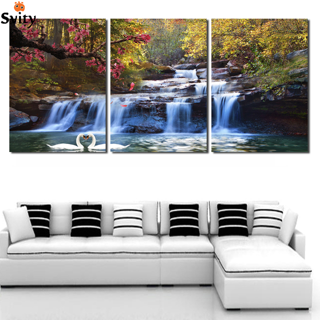 3 Piece Wall Art Free Shipping Canvas Strong Waterfall Natural Beauty Painting Modern Picture Home Decor