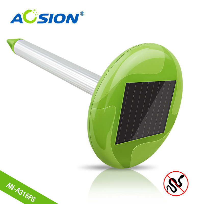 Free Shipping 2X Aosion Garden Solar Power Snake Mole Pest Repeller Control with Bright Light waterproof IPX4 outdoor AN A316FS-in Repellents from Home & Garden    1