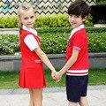 Girls boy Children School Uniform Dresses Toddler Kids England Style Blue White Long Sleeve Causal Bow Dress Fall Performance