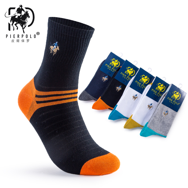 New Fashion Brand Socks 5 Pairs / lot PIER POLO Pria Cotton Happy Socks pria Bordir Kaus Kaki Musim Panas