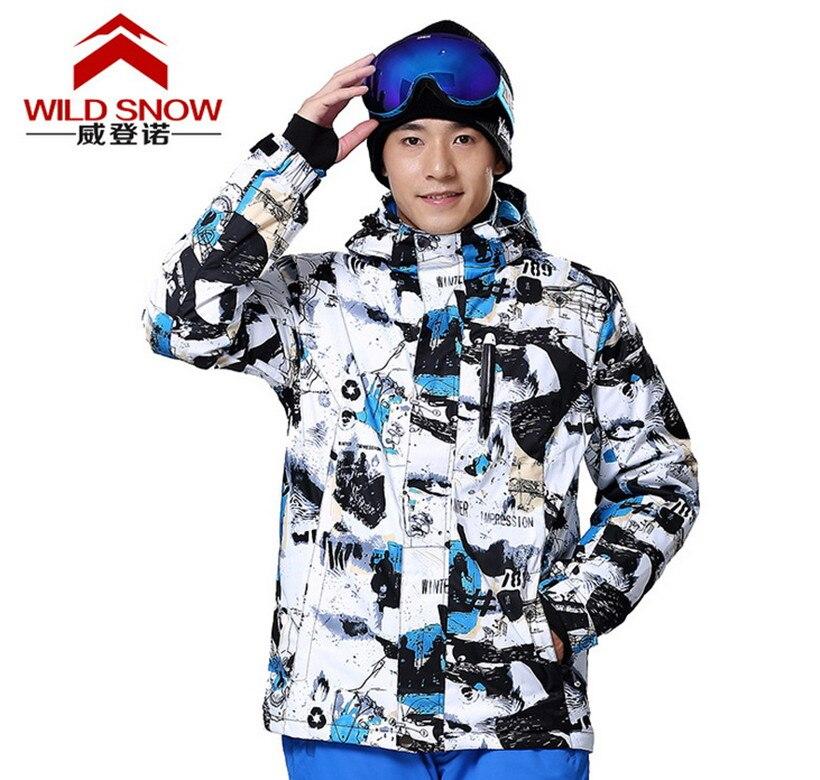Prix pour Hommes Snowboard Vestes Encre Camouflage Imperméable Coupe-Vent Ski Suit Camping Voyage Escalade Patinage Randonnée Ski Veste