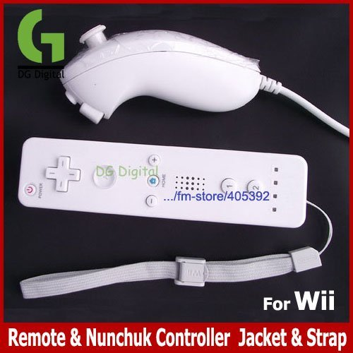 Wholesale 3pcs/lot Remote & Nunchuk Controller  Jacket & Strap left and right hand for Wii