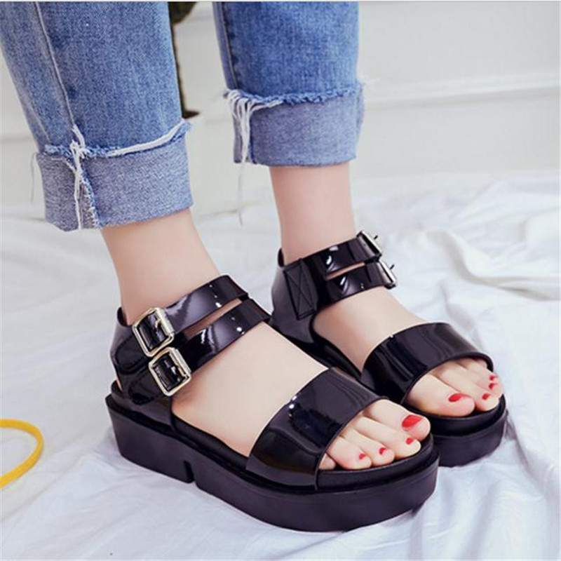 2017 Platform Sandals Women Summer Shoes Soft Leather Casual Shoes Open Toe Gladiator wedges Trifle Mujer Women Shoes Flats 2017 gladiator summer shoes woman platform sandals women flats soft leather casual open toe wedges sandals women shoes r18