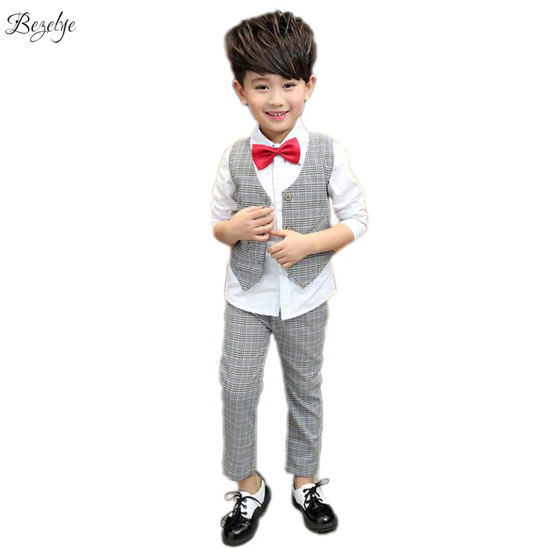 Fashion Plaid Blazer For Boy England Style Boys Blazers Suits Long Sleeve Shirt And Vest Kids Suit Boys Wedding 3PCS 2016 new arrival fashion baby boys kids blazers boy suit for weddings prom formal wine red white dress wedding boy suits