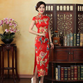 Vintage Silk Long Cheongsam Qipao Dress XXL Sexy High Split Flowers Cheongsam Wedding Dress Traditional Chinese Clothing Women