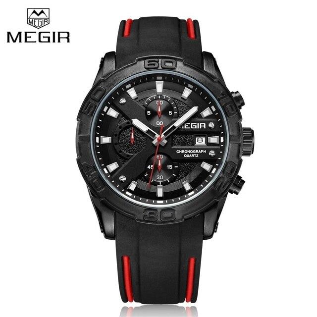 ساعة كوارتز كرونوجراف سوداء بسوار من السيليكون من العلامة التجارية الفاخرة ، ساعة يد رياضية مضادة للماء للرجال