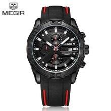 Marca de lujo superior MEGIR negro silicona Correa cronógrafo reloj de cuarzo hombres impermeable deportes reloj hombre Relogio Masculino