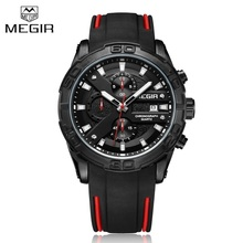 Top Luxe Merk MEGIR Zwarte Siliconen Band Chronograaf Quartz Horloge Mannen Waterdichte Sport Horloge Klok Man Relogio Masculino
