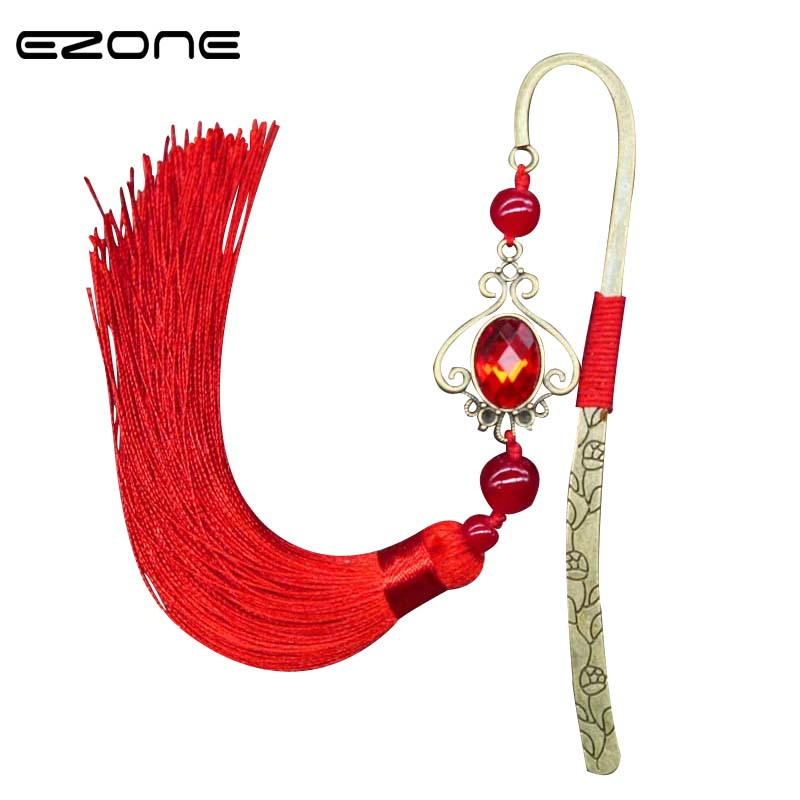 EZONE Retro Metal Hairpin Bookmark With Tassel Fringe Book Holder Red/Green/Blue Chinese Ethnic Style Book Marker Stationery