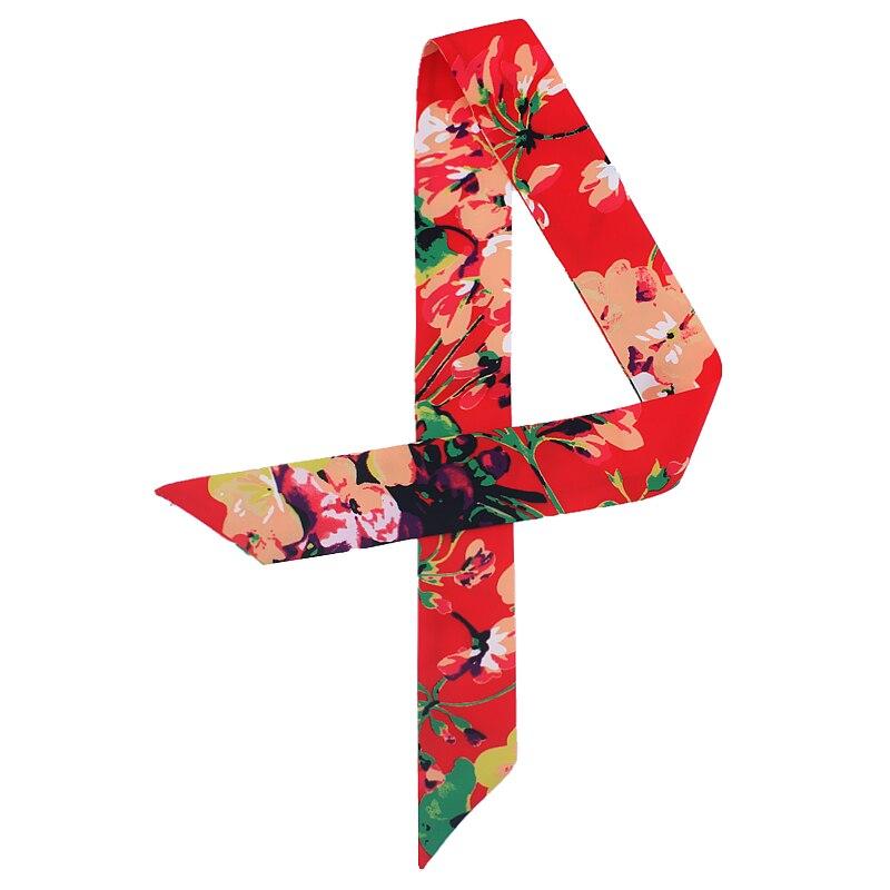 Scarves Women 2020 Ribbon Skinny Female Silk Head Scarf Floral Print Lady Hair Neck Scarfs Bag Tie Wrap