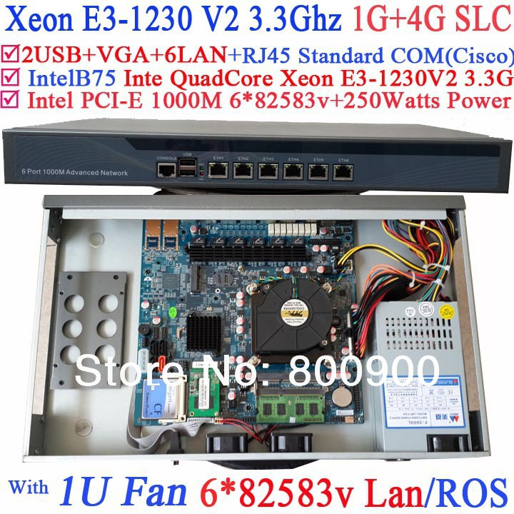 High quality 1U Firewall network router with 6 lan port Inte Quad Core Xeon E3-1230 V2 3.3Ghz no graphic 1G RAM 4G SLC RouterOS