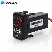 5 В 2.1A Интерфейс USB Разъем Автомобильное Зарядное Устройство и Вольтметр Battery Monitor Использовать для TOYOTA Hilux VIGO, Каботажное Судно, Corolla ex, Yaris