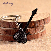 PF Music Instrument Keychain Black Mental Guitar Key Chain Pendant Trinkets for Lovers Gift Key Ring Accessories For Bags YS090