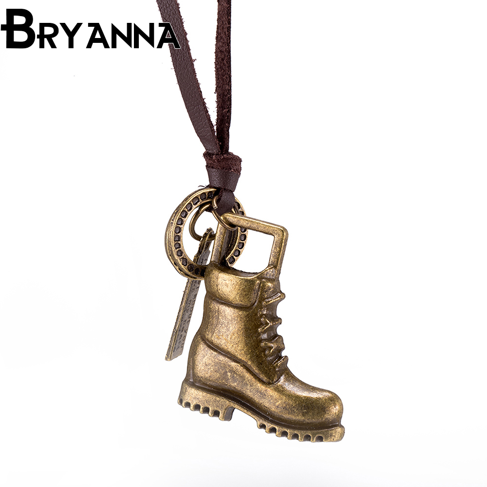 BRYANNA Cool Promotion Sale Top 100 Handmade Genuine Golden font b shoes b font Leather Necklace