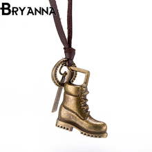 BRYANNA Cool Promotion Sale Top 100 Handmade Genuine Golden shoes Leather Necklace Men Women Fashion Jewelry