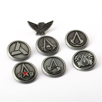 7pcs Set Wholesale Assassin S Creed Brooch Assassins Creed Pins Broches Brooches Lapel Pin For Women