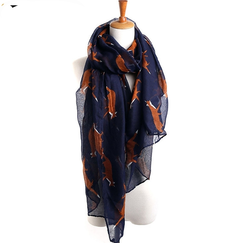 JAYCOSIN New Fashion  Lady Womens Long Cute Foxes Print Beautiful Scarf Wraps Shawl Soft Scarves 160921 Drop Shipping