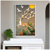 CAMMITEVER Running Deer Diy Diamond Painting Animal Cross Stitch Craft Home Decor Diamond Embroidery Deer Full Mosaic