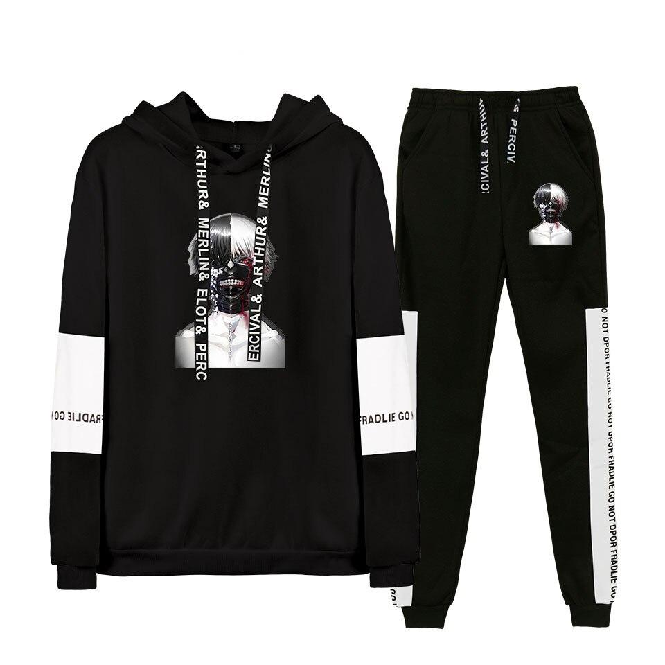 Tokyo Ghoul Anime Men Women's Print Hooded Hoodies Sweatshirts+Korean Trend Sweatpants Sport Suit