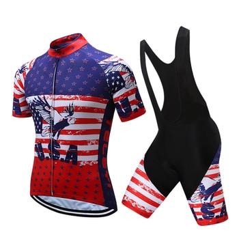 USA Ciclismo Jersey manga corta Ropa De Ciclismo Maillot Ciclismo conjunto Ropa...