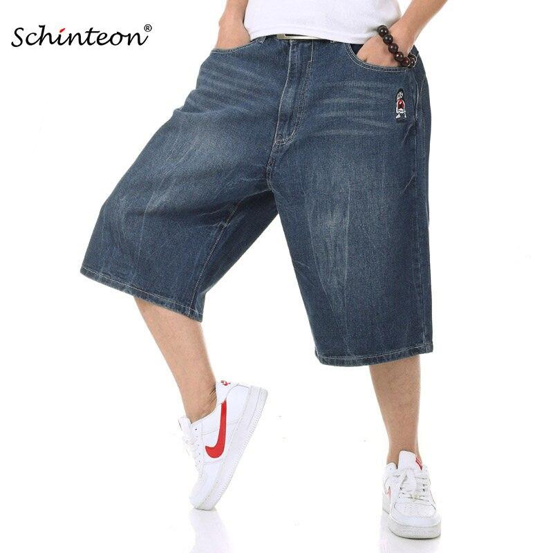 5df208847457a 2018 Summer Plus Size Wide Leg Jeans Shorts Male Skateboard Swag Baggy Men  Capri Denim Pants
