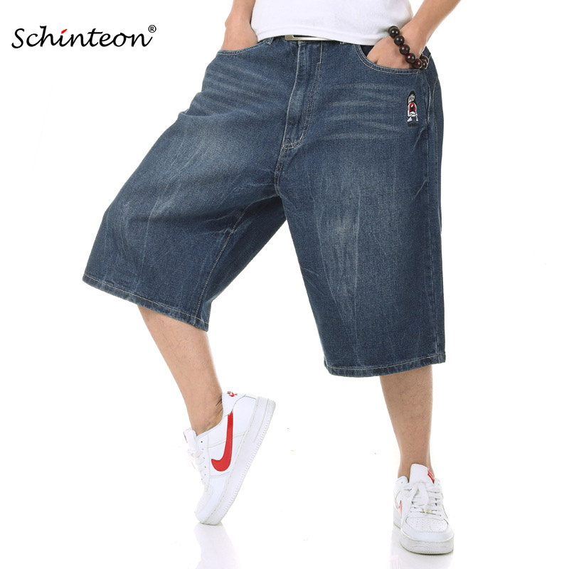 Schinteon Summer Plus Size Wide Leg Jeans Shorts Male Skateboard Swag Baggy Men Capri Denim Pants 42 46 44