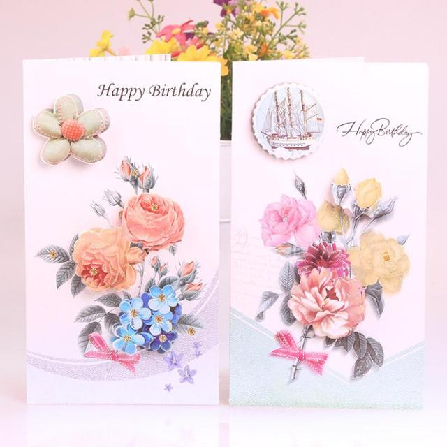 8 pcslot cute birthday cards flower printing children birthday gift blessing card kids - Happy Birthday Cards Flowers
