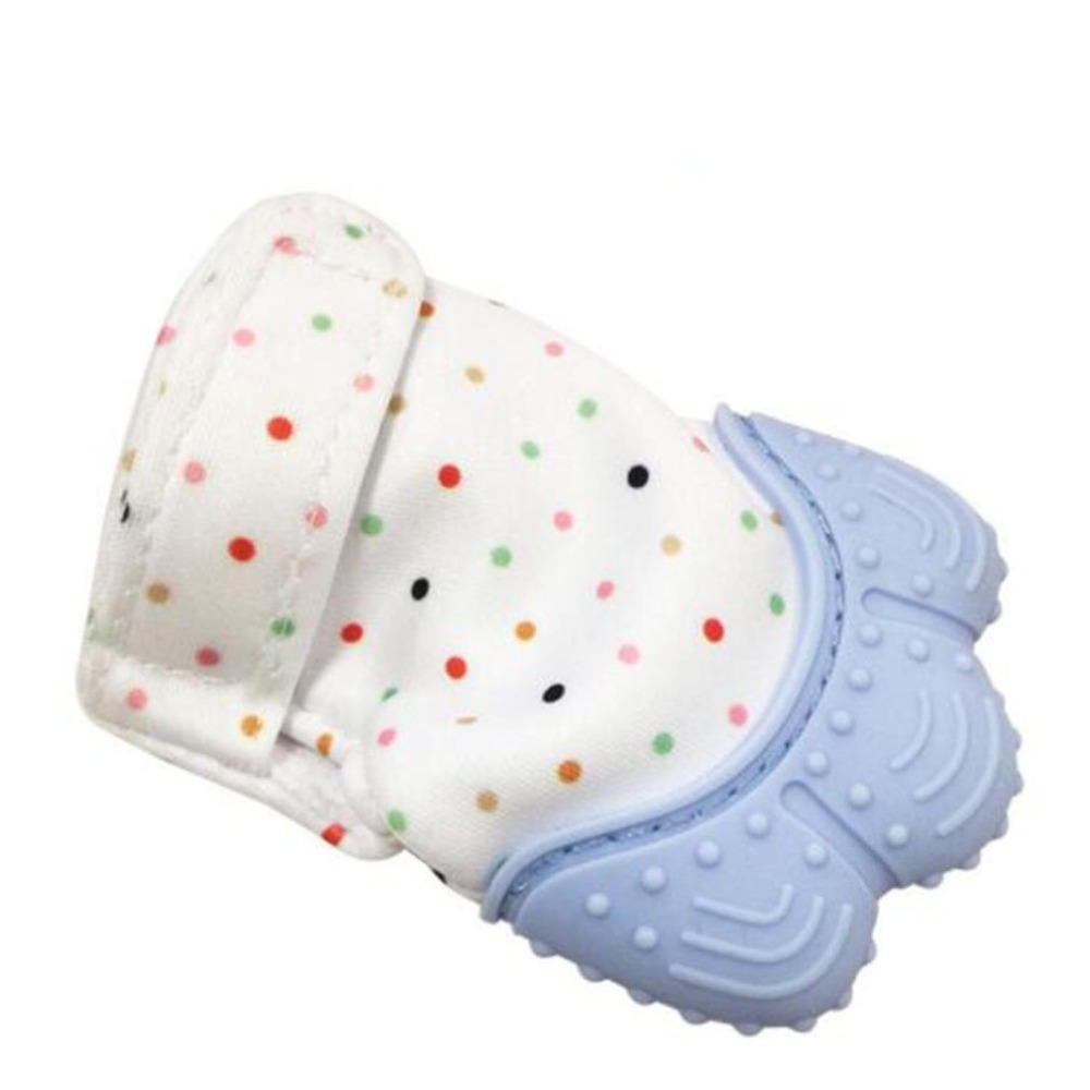 Silicone Baby Teether Pacifier Glove Natural Thumb Sound Teething Chewable Nursi