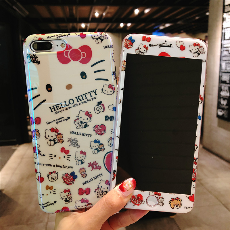 Hello Kitty shell For iPhone X case + tempered glass Cover for iPhone 8 /7 7plus /6 6s plus case soft blu-ray tpu fruit fundas