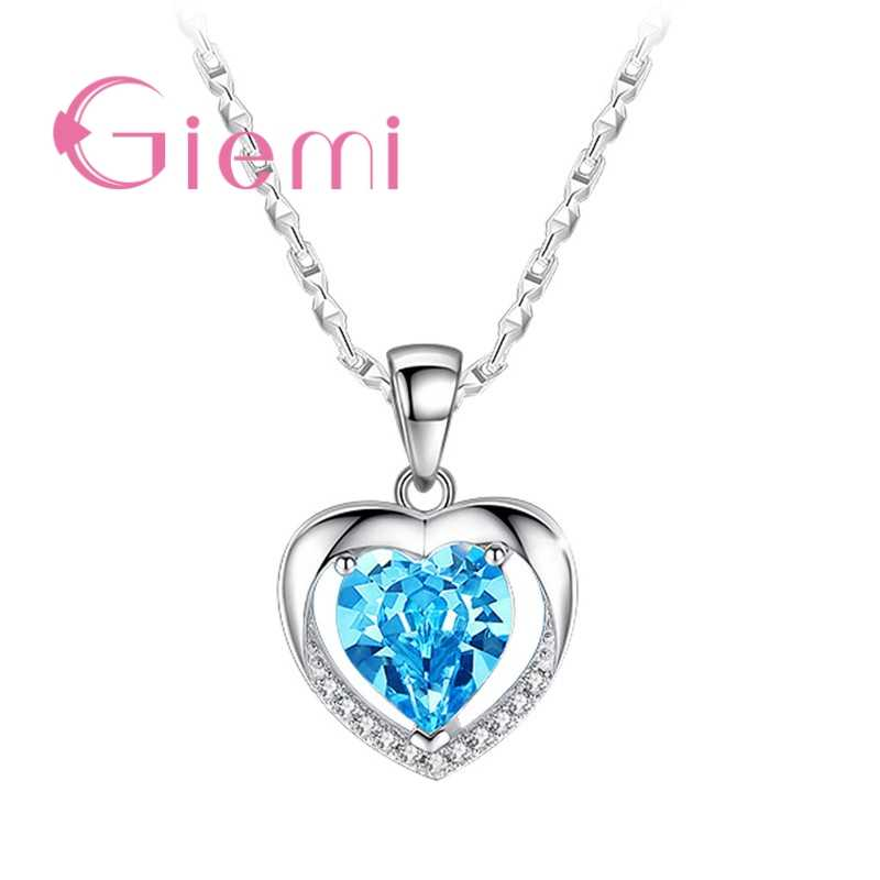 925 Sterling Silver Pendant Necklace For Women Engagement Fashion Jewelry Austrian Crystal Romantic Heart Shape Wholesale