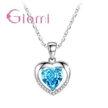 925 srebro wisiorek naszyjnik dla kobiet modna biżuteria zaręczynowa austriacki kryształ romantyczny kształt serca hurtownia
