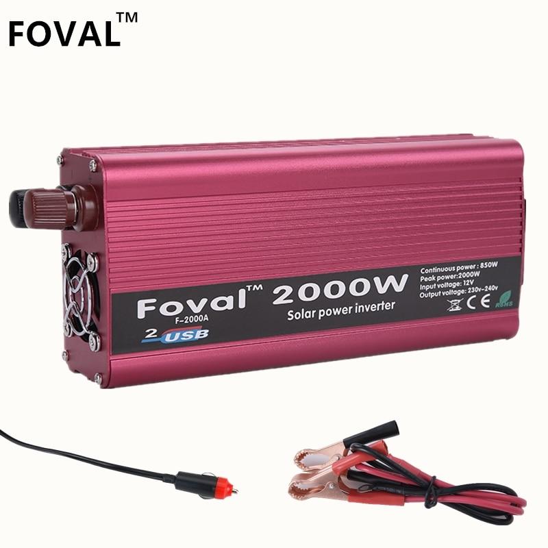 Inverter 2000W Dual USB Car Inverter 12v 220v DC to AC  Power Inverter Charger Vehicle Power Supply Switch