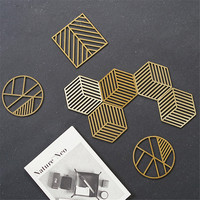 Nordic Gold Metal Storage Tray Modern Geometry Cup Cake Dessert Plate Cosmetics Jewelry Display Tray Insulation Pads Desk Decor