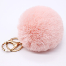 8CM Fur Rabbit Hair Pom Pom KeyChain