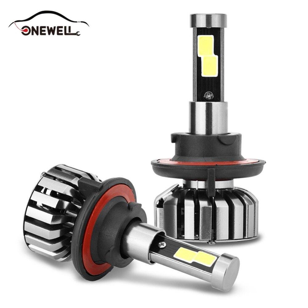 ONEWELL 2 Pcs N7 Led Car Headlight H1 H3 H7 H4 80W 8000LM Hi/Low Light Bulb H8/H9/H11 Replacement Automobile Headlamp IP68