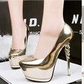 Zapatos de fiesta de oro bombea los zapatos de boda de las mujeres bomba extremas zapatos de tacones altos zapatos de plataforma negros de plata zapatos de tacón zapatos de las mujeres talones X321