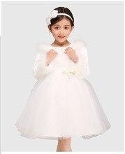 Осень и зима розовый / белый меховой воротник шифон детская одежда dres