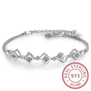 925 Sterling Silver Cube Box Bracelets & Bangles New Fashion Bracelet For Women Sterling-silver-jewelry