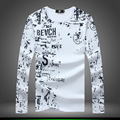 2016 New  Printed Round neck 100% cotton men's T-shirt with long sleeve fashion men t shirt for autumn t-shirt Multi-size