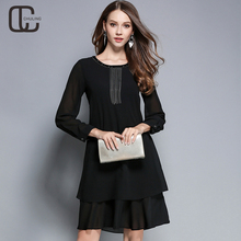 Spring Autumn Women's Chiffon Elegant Dresses Plus Size Handmade Bead Red Black Tassel Ladies OL Casual Dress Woman Dresses 5XL