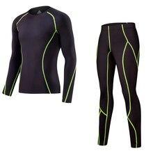 Беговая компрессионная для кроссфита рубашка колготки Брендовые мужские Леггинсы для бега футболка с длинными рукавами спортивный костюм из 2 предметов мужской костюм