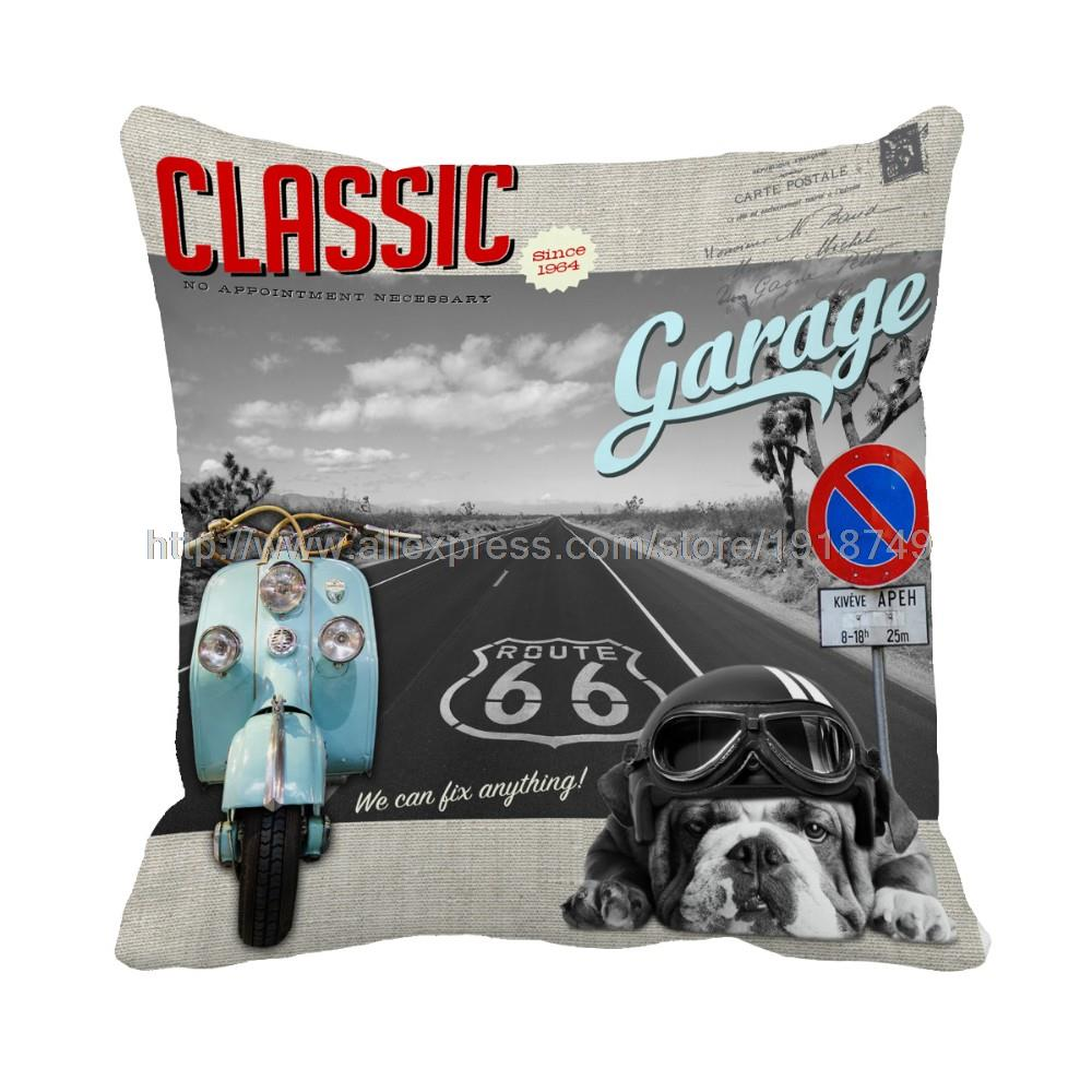 blue motorcycle and bulldog with helmet printed animal throw pillow case grey cushion cover home and sofa chair decoration