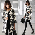Европейский Стиль Длинные Пальто Для Женщин Черный И Белый Ломаную Клетку Abrigos Mujer Осенью Новый Ветровка Моды Пальто