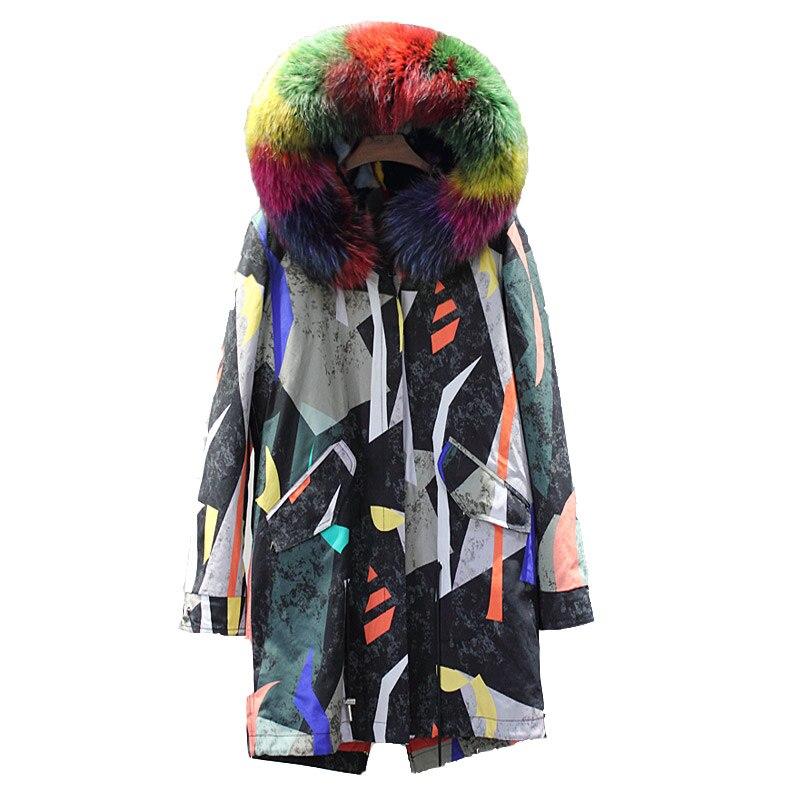 Съемный натуральный мех норки вкладыш парки женские разноцветные с принтом радуги Меховые пальто с настоящим енотовидная собака меховым в...